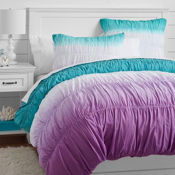 Surf Dip Dye Ruched Duvet Cover Sham Pool Purple Pbteen
