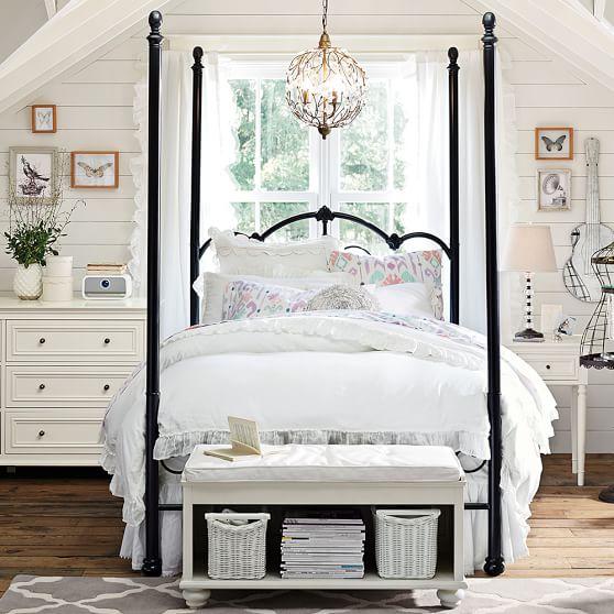 Amanda Iron Scroll Canopy Bed