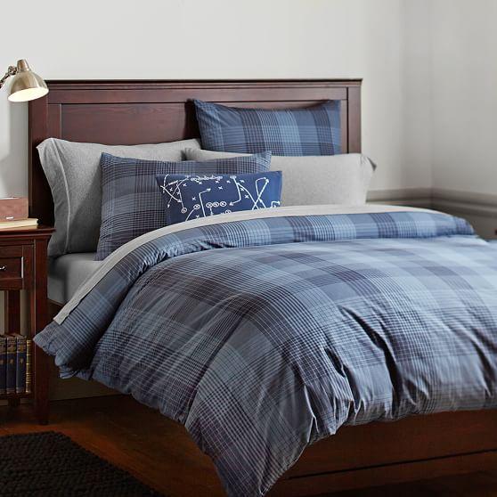 branson plaid duvet cover sham navy pbteen. Black Bedroom Furniture Sets. Home Design Ideas