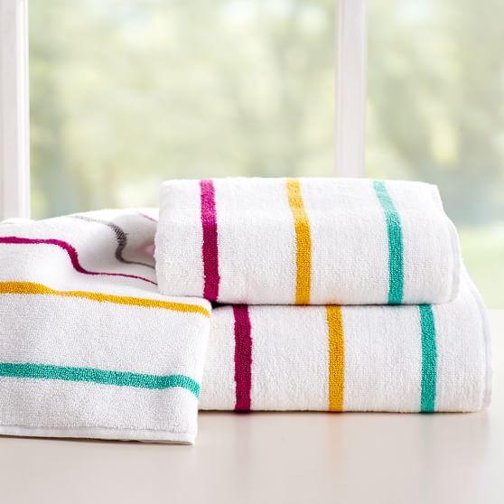 Bathroom Towels Striped: Rainbow Stripe Bath Towels