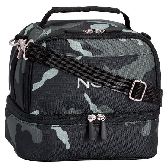 Gear-Up Black Camo Dual Compartment Lunch Bag