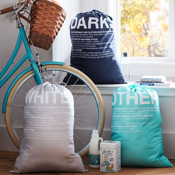 Easy Sort Laundry Bags, Set Of 3, Pool/Navy/Grey