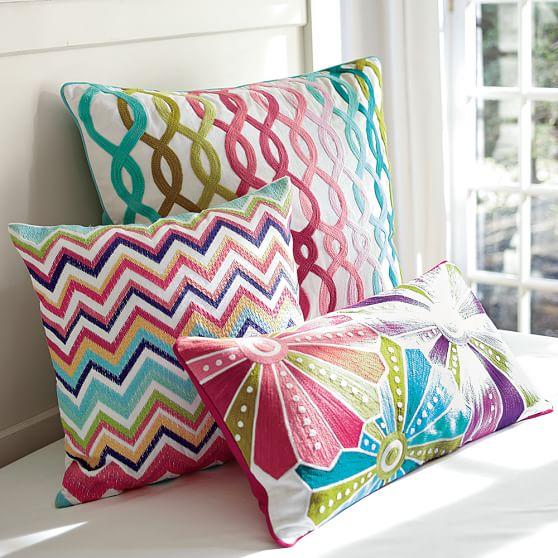 Palm Beach Style Pillows : Palm Beach Embroidered Crewel Pillow Cover PBteen