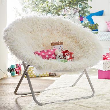 Ivory furlicious faux fur hang a round chair pbteen for Kids fluffy chair