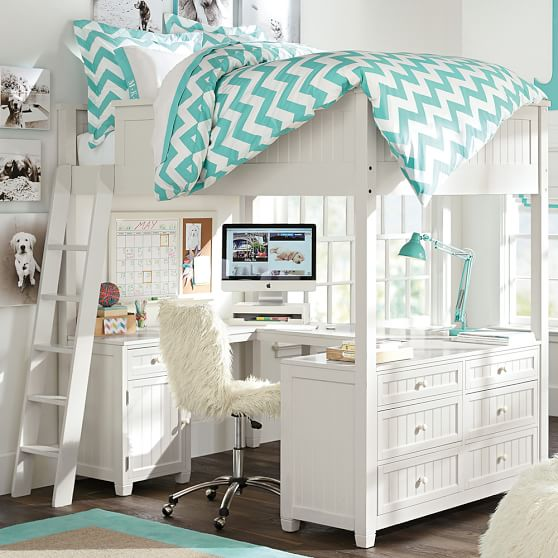 Beadboard loft bed pbteen for Best beds for teenager