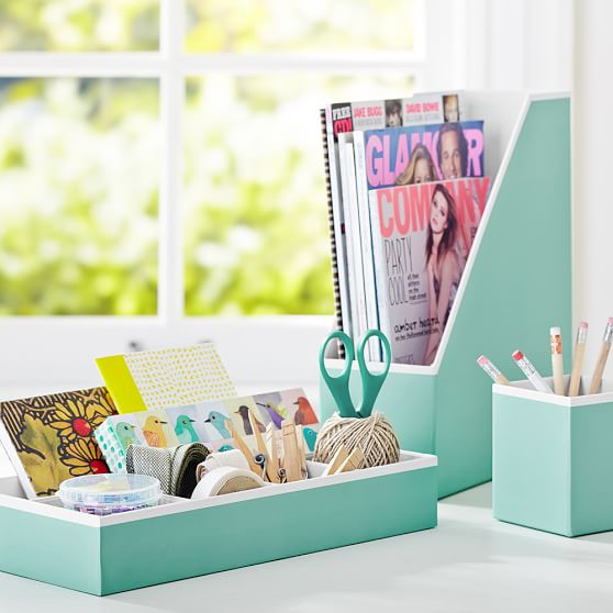 Printed desk accessories solid pool with white interior - Cute desk accessories and organizers ...