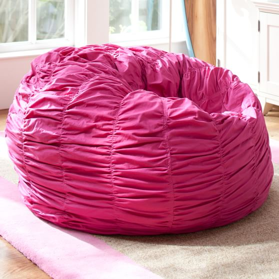 Pink Magenta Ruched Beanbag