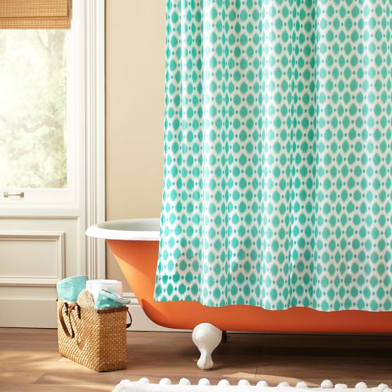 Ikat Dot Organic Shower Curtain Pbteen