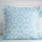 Damask Duvet Cover, Euro Sham, Sky Blue