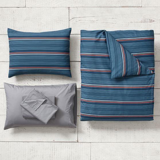 Cali Stripe Duvet Bedding Set with Duvet Cover, Duvet Insert, Sham, Sheet Set + Pillow Inserts