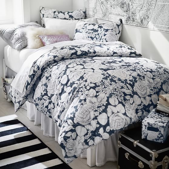 Winter rose duvet cover sham pbteen for How to change a duvet cover by rolling