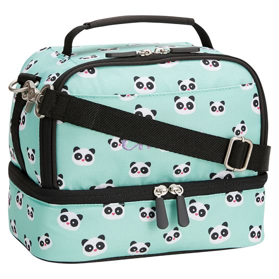 Gear-Up Panda Dual Compartment Lunch Bag, Pool w/ Black Trim