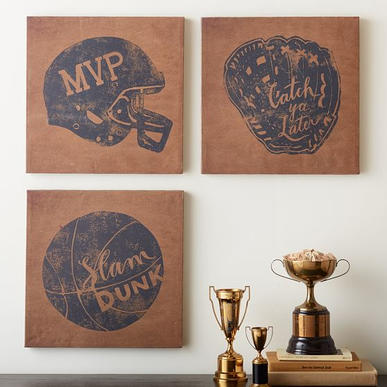 Vintage sports canvas pbteen for Vintage basketball wall art