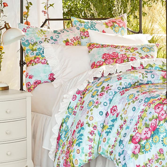 Pottery Barn Teen Beautiful Floral Blooms F Q Full Queen