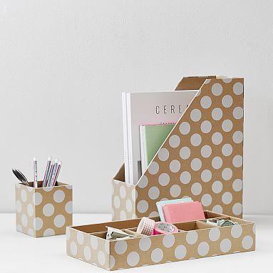 Printed desk accessories natural kraft white dot pbteen - Cute desk organizers accessories ...