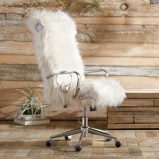 Himalayan Ivory Faux Fur Ultimate Desk Chair Pbteen