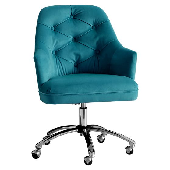 Velvet tufted desk chair pbteen for Desk chairs on sale