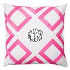Lattice Monogram Pillow Covers, 18x18, Pink Magenta