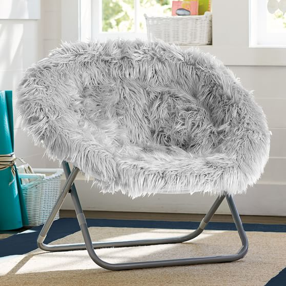 gray fur rific hang a round chair pbteen. Black Bedroom Furniture Sets. Home Design Ideas