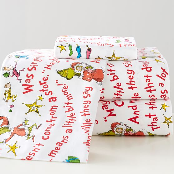 Grinch words of who ville flannel sheet set pbteen