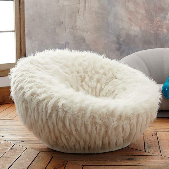 Llama Faux Fur Groovy Swivel Chair Pbteen