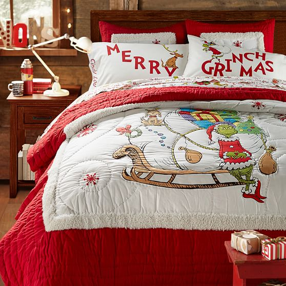 Grinch Words Of Who Ville Flannel Duvet Cover Sham Pbteen