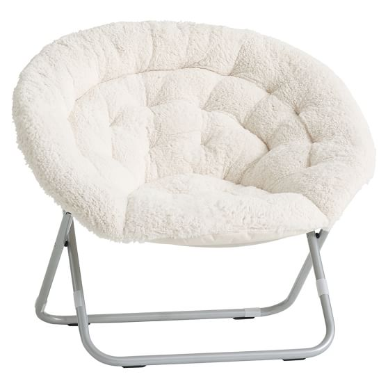Ivory Sherpa Faux Fur Hang A Round Chair