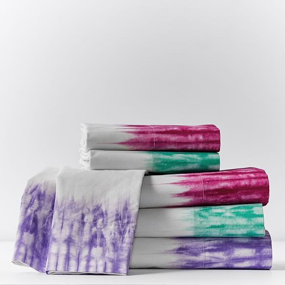 Tie Dye Cuff Surf Sheet Set, Twin/XL Twin, Bright Pink