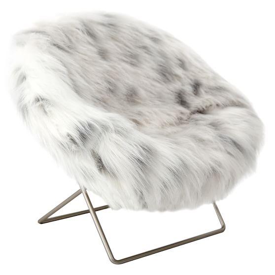 Faux fur mini hang a round phone chair pbteen for Kids fluffy chair