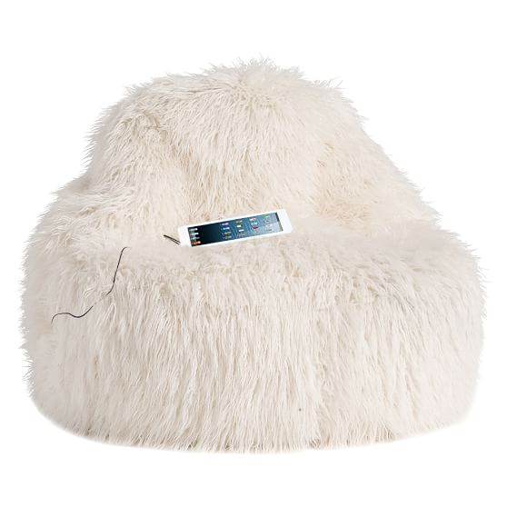 Ivory furlicious faux fur leanback media lounger pbteen - Leanback lounger chairs ...