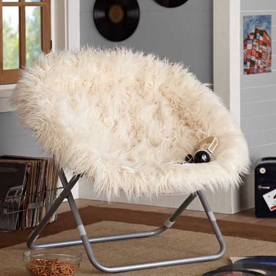 Ivory Furlicious Faux Fur Hang A Round Chair Pbteen