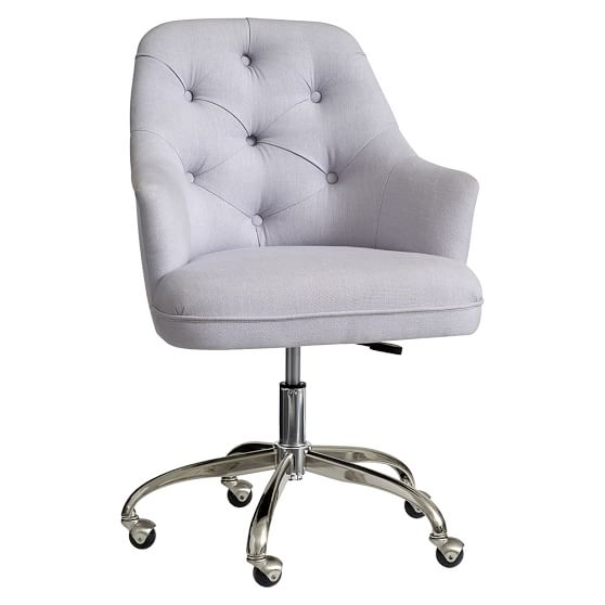 Twill tufted desk chair pbteen for Cute black chairs
