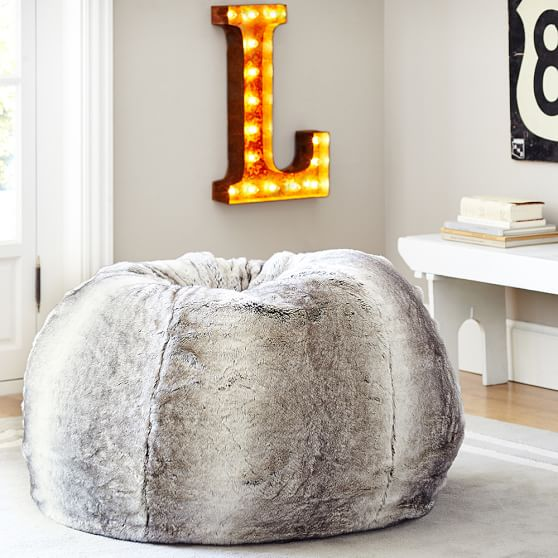 gray ombre faux fur beanbag pbteen. Black Bedroom Furniture Sets. Home Design Ideas