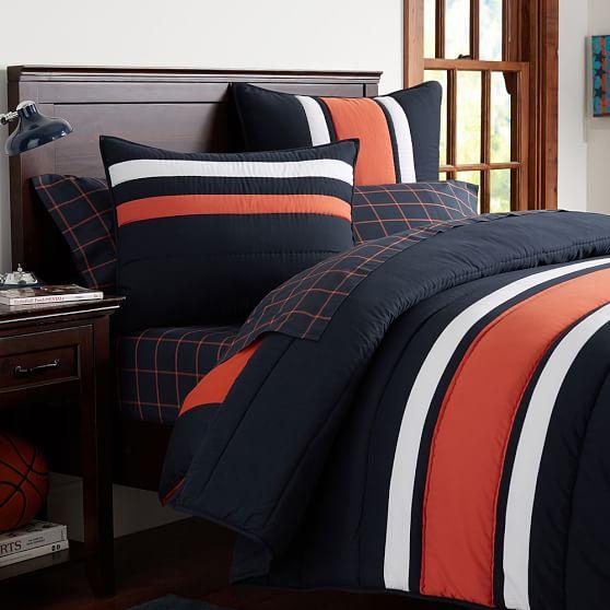 Speedster stripe comforter sham pbteen - Blue and orange bedding sets ...