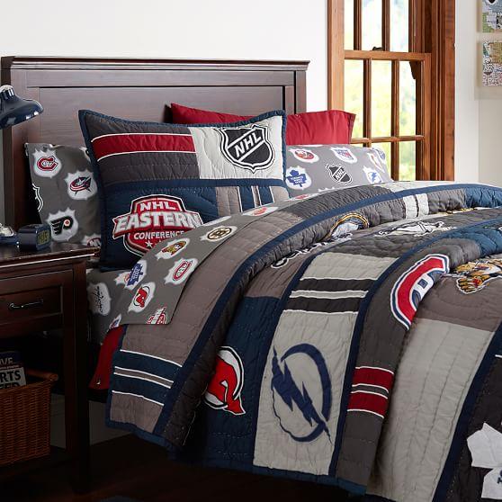 nhl patchwork quilt sham pbteen. Black Bedroom Furniture Sets. Home Design Ideas