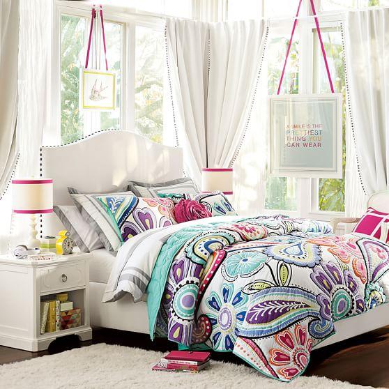 raleigh camelback upholstered bed pbteen. Black Bedroom Furniture Sets. Home Design Ideas