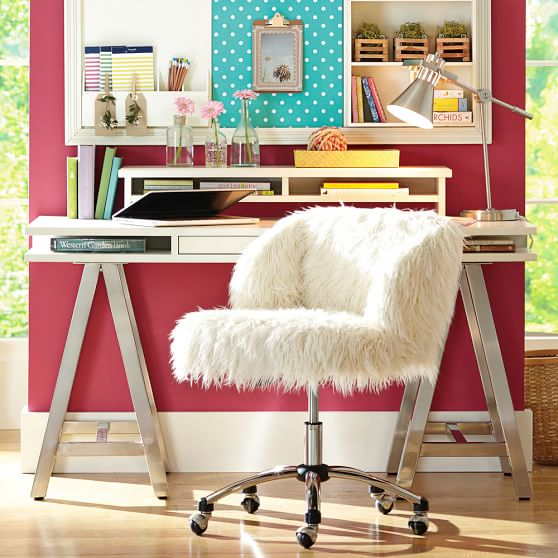 Ivory Furlicious Wingback Desk Chair Pbteen
