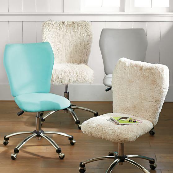 Polar Bear Faux Fur Airgo Arm Armless Chair Pbteen