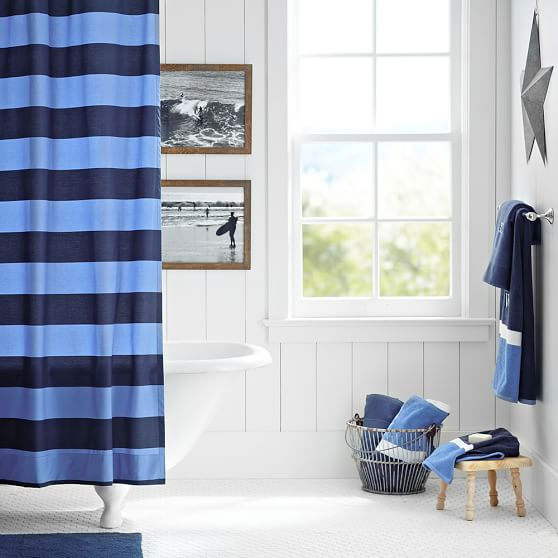 Schlampe! mama navy striped shower curtain can