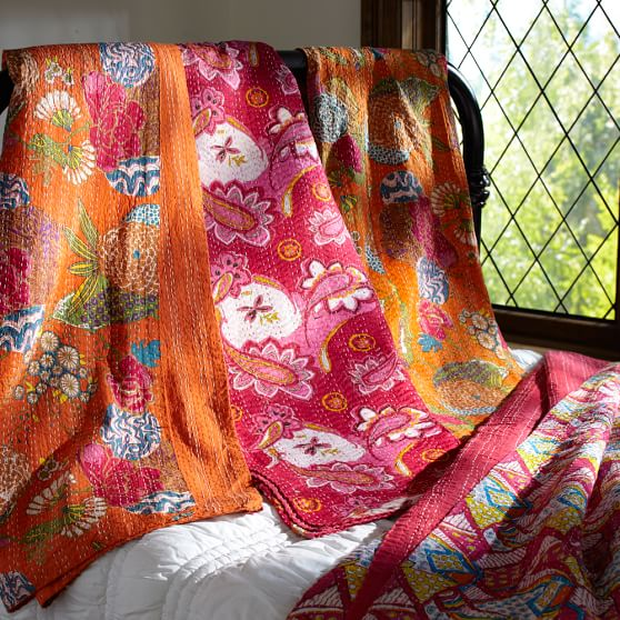 Kantha Cloth Coverlet Quilt, 60x80, Warm