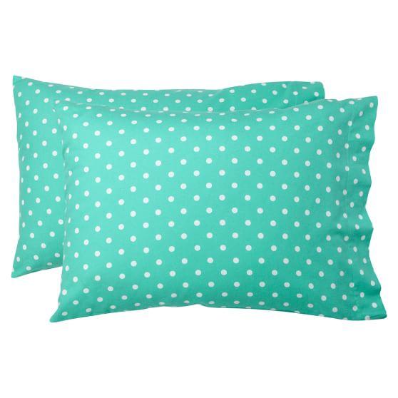 Dottie Flannel Pillowcases, Set Of 2, Standard, Pool