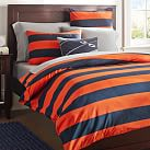 Rugby Stripe Duvet Cover, Twin, Navy/Orange
