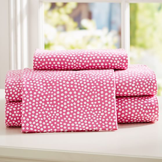 Mini Dot Sheet Set, Twin/Twin XL, Pink Magenta