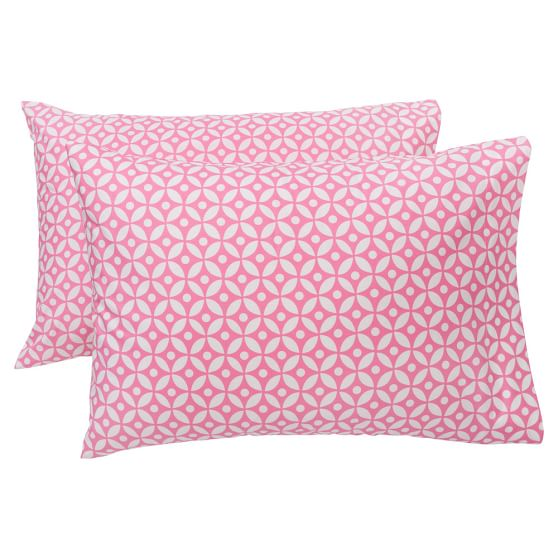 Petal Dot Pillowcases, Set of 2, Bright Pink