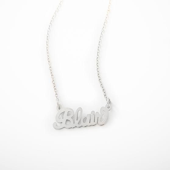 Monogram Cursive Words Necklace, Silver