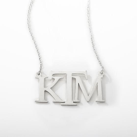Monogram Block Necklace, Silver