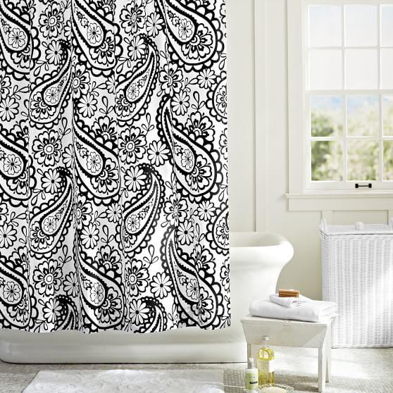 Garden Paisley Shower Curtain, Black
