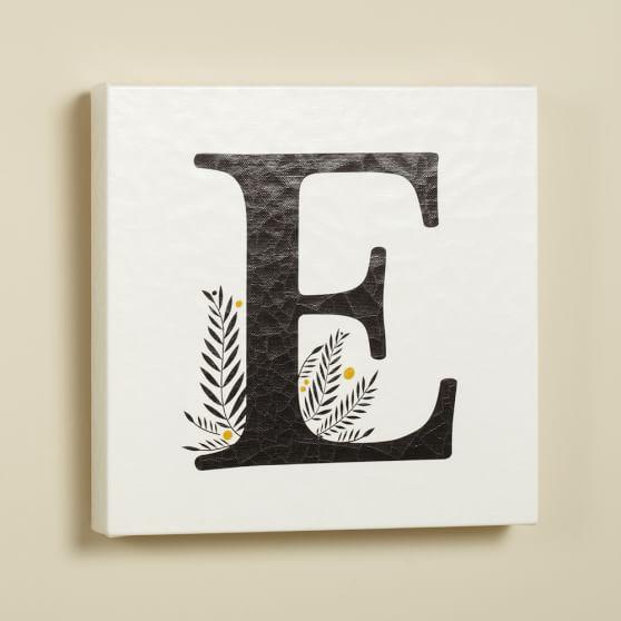 Alphabet Canvas Wall Art, E, Black/White