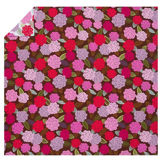 Chloe Floral Organic Duvet Cover, Twin, Pink Multi