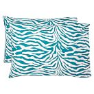 Funky Zebra Pillowcases, Sea Blue, Set Of Two, Standard